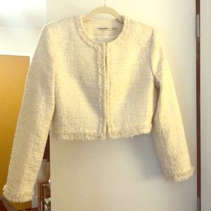Alice & Olivia Metallic crop tweed jacket
